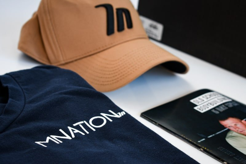 a frame hat with blue muscle nation shirt