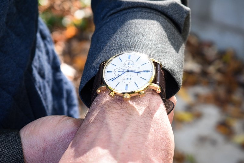 model wearing varberg chronograph white dial