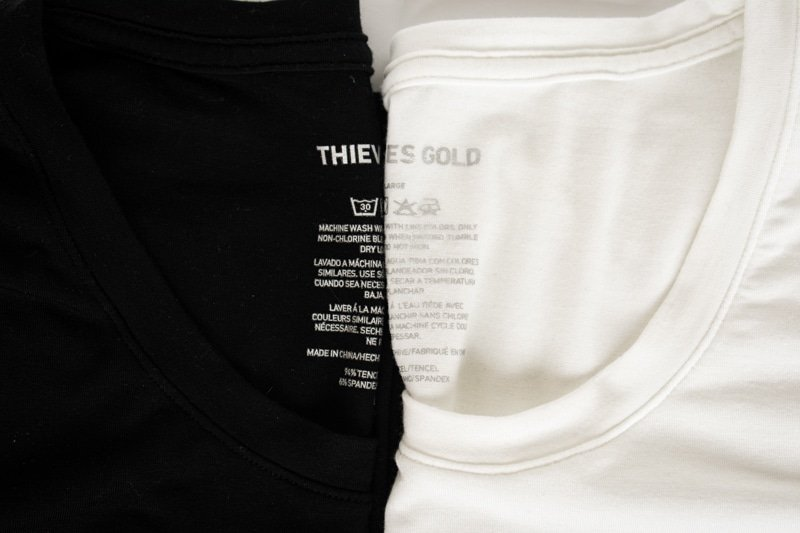 thieves gold tencel shirts white and black