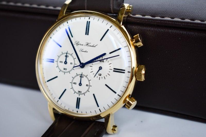 varberg chronograph white dial closeup