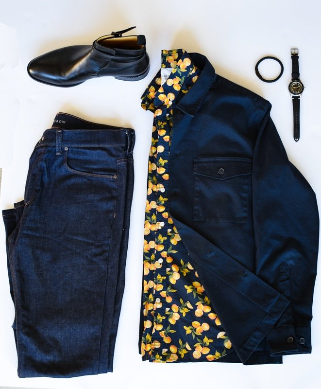 photo grid navy overshirt blue button down jeans black accessories