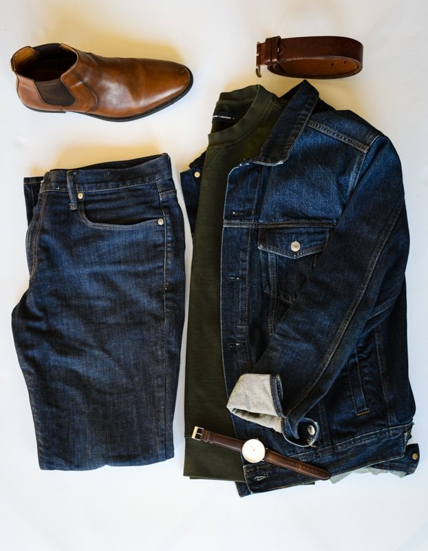 photo grid what to wear dark blue jeans denim jacket sweater brown accessories