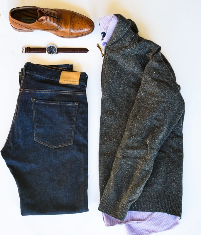 photo grid what to wear shawl collar sweater brogue shoes dark blue jeans