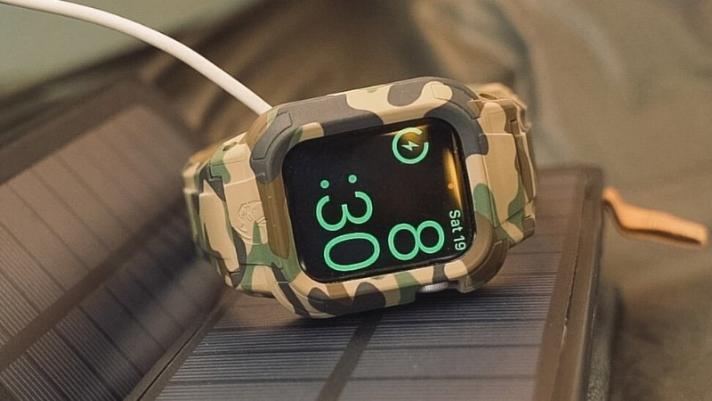 Best Apple Watch Bands Rhino Band Stealth in Camo Sitting on Black Object