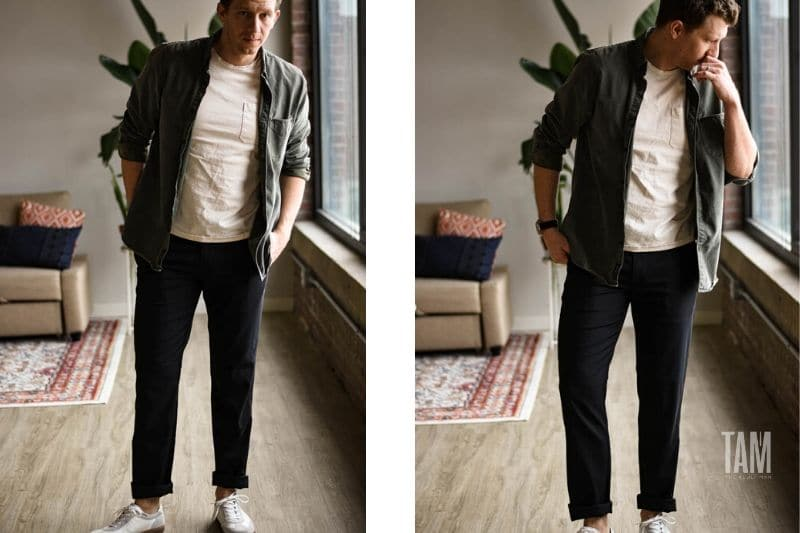 Mizzen and Main Cuffed black performance chinos with white sneakers