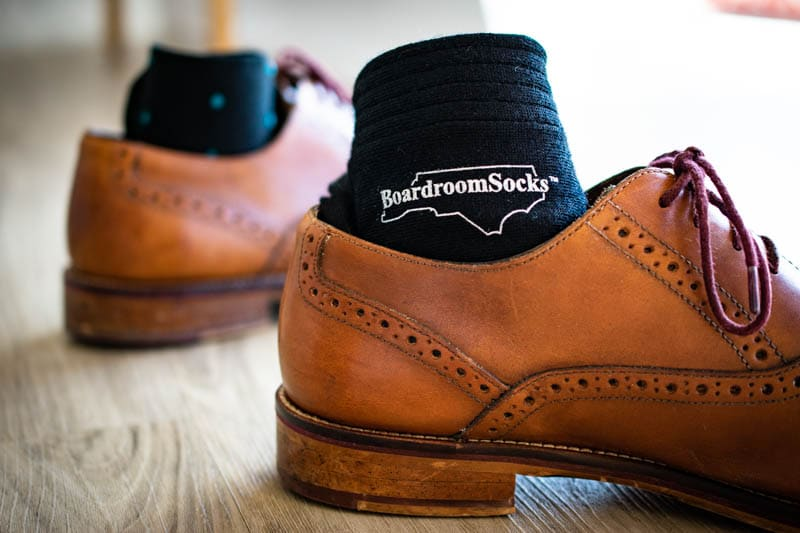 leather oxford brogue with sock tucked in