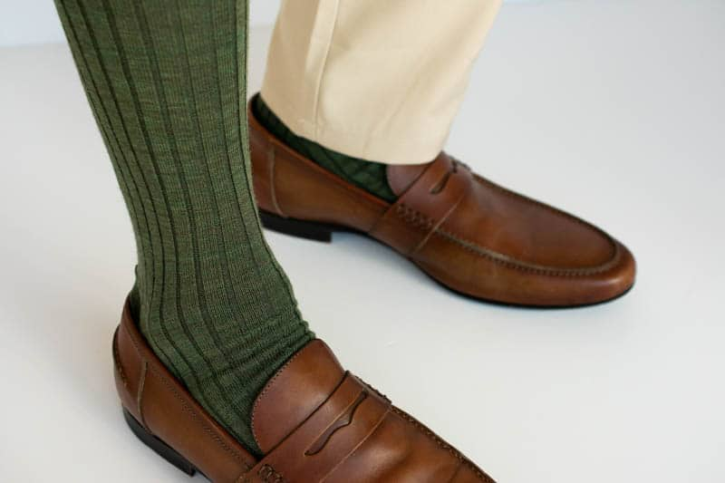 look at over the calf sock with khaki trouser