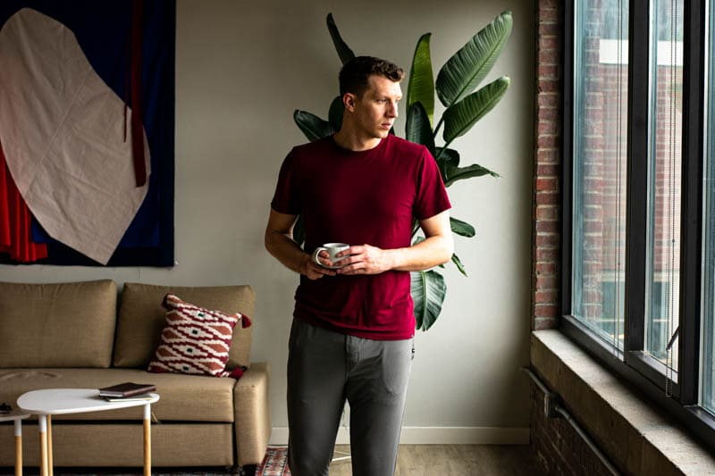 meundies loungewear red micromodal shirt with grey micromodal lounge pants