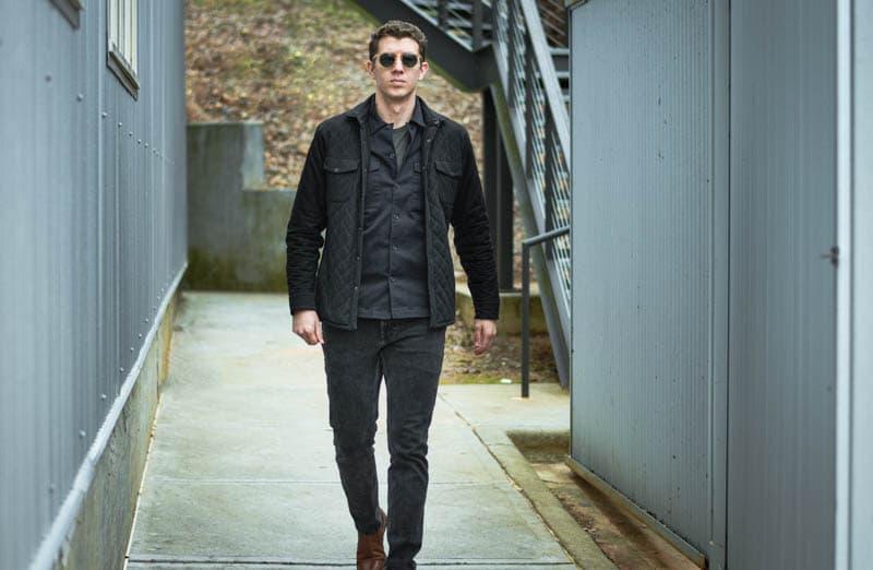 model walking face on toward with new depp messyweekend sunglasses