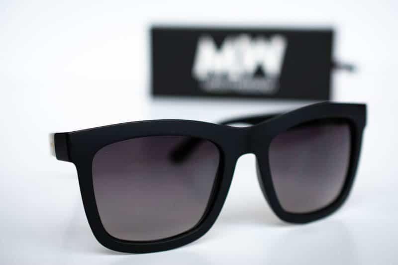 product shot brooklyn matte black sunglasses with black box background