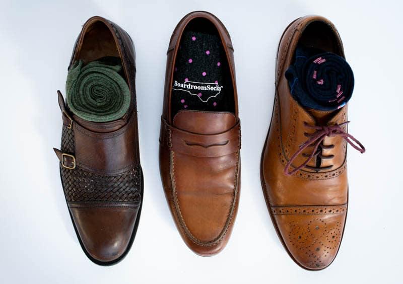 range of three pairs of socks in three shoes