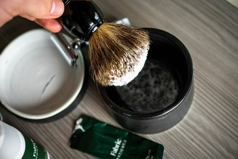 shaving cream on badger hair brush