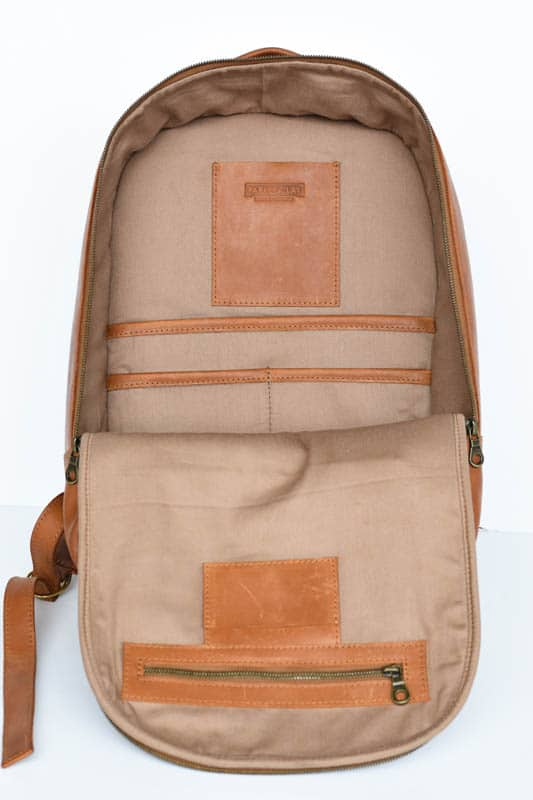 cotton canvas interior of atlast leather backpack from parker clay