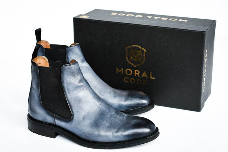 ice blue lawry chelsea boots from moral code with black shoebox