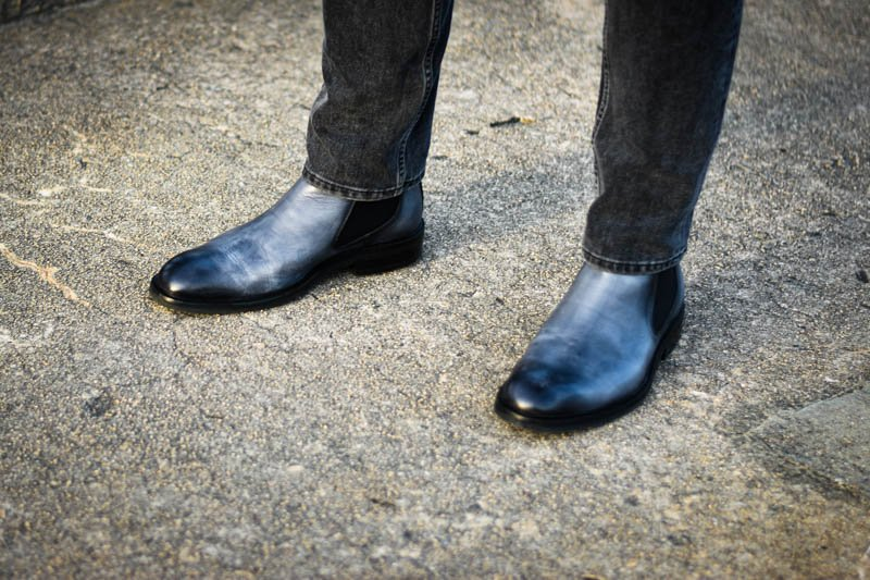 ice blue lawry chelsea boots moral code model wearing with charcoal jeans