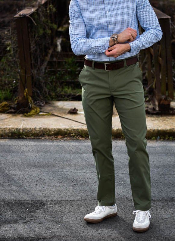 model wearing bluffworks chinos and dress shirt