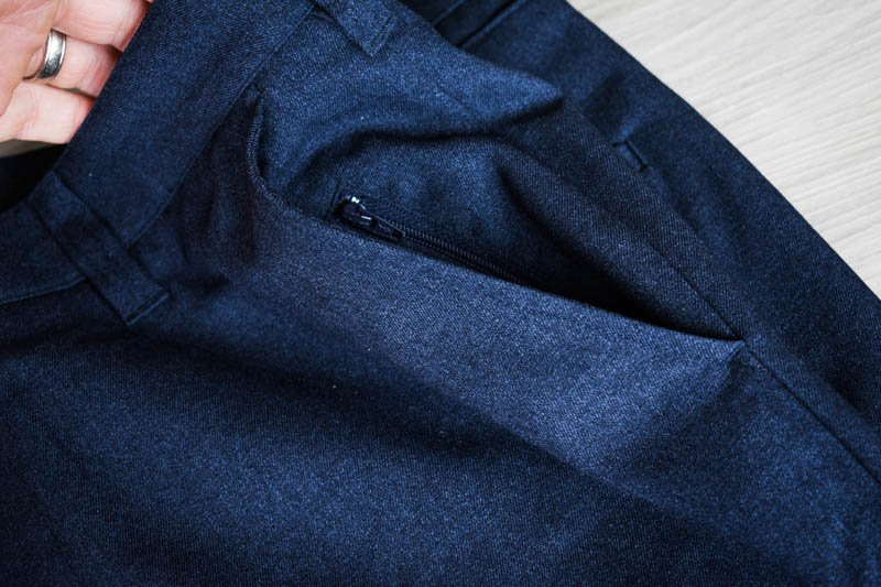 showcase zippered pockets in bluffworks gramercy pants