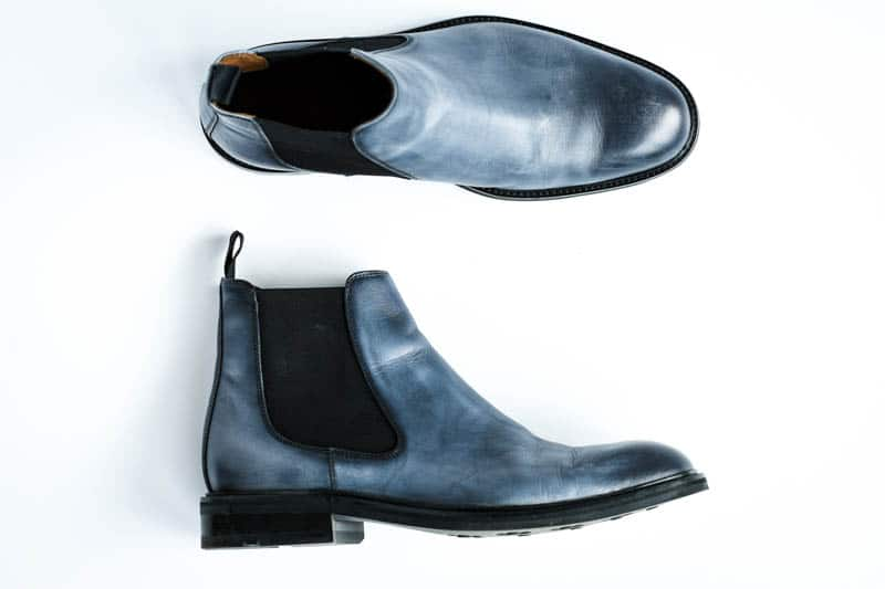 top down product shot of blue leather lawry chelsea boots from moral code