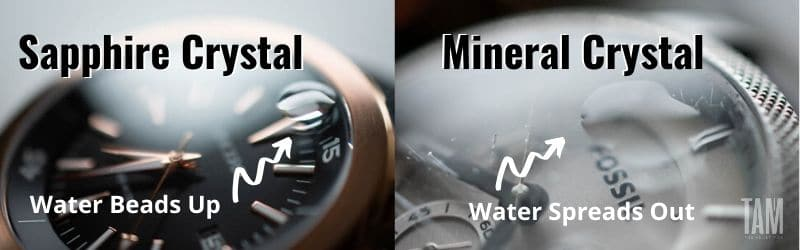 water test sapphire coating vs mineral crystal