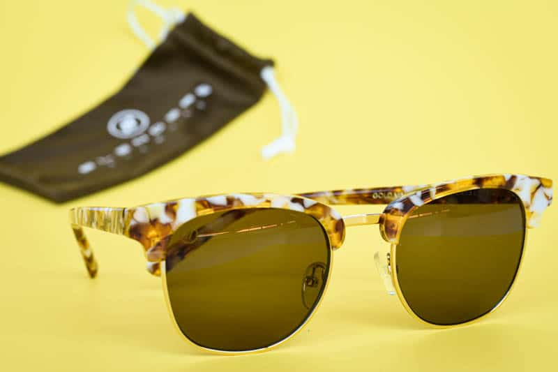 Blenders Eyewear gold mamba cardiff sunglasses on yellow background
