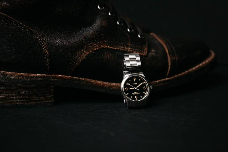 Vaer c3 field watch against leather boot
