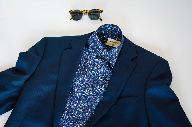 floral pattern blue shirt with blue suit