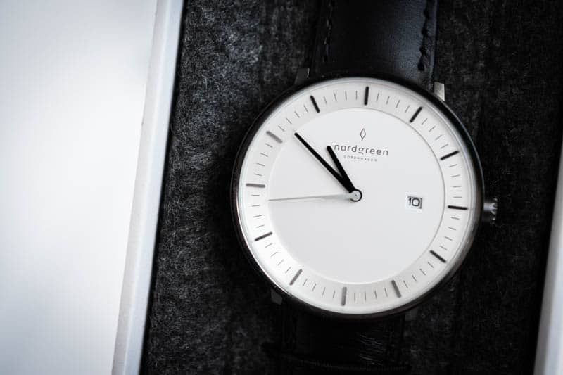 nordgreen philosopher minimliast watch against grey felt case