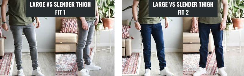 skinny vs slim jean thigh fit comparison