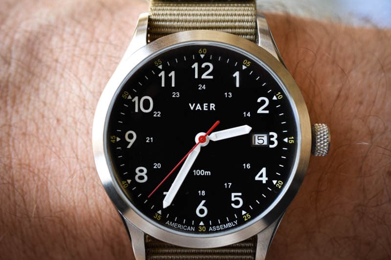 vaer c5 black heritage military field watch on model wrist