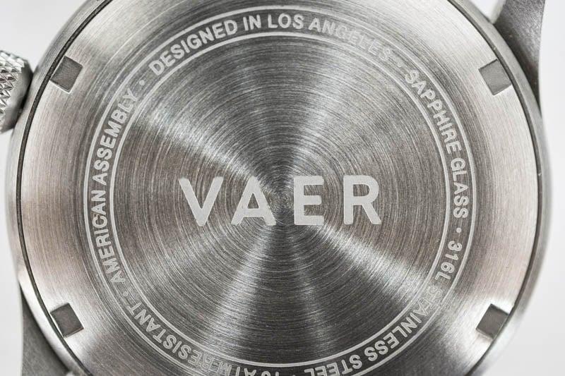 vaer caseback logo laser etching
