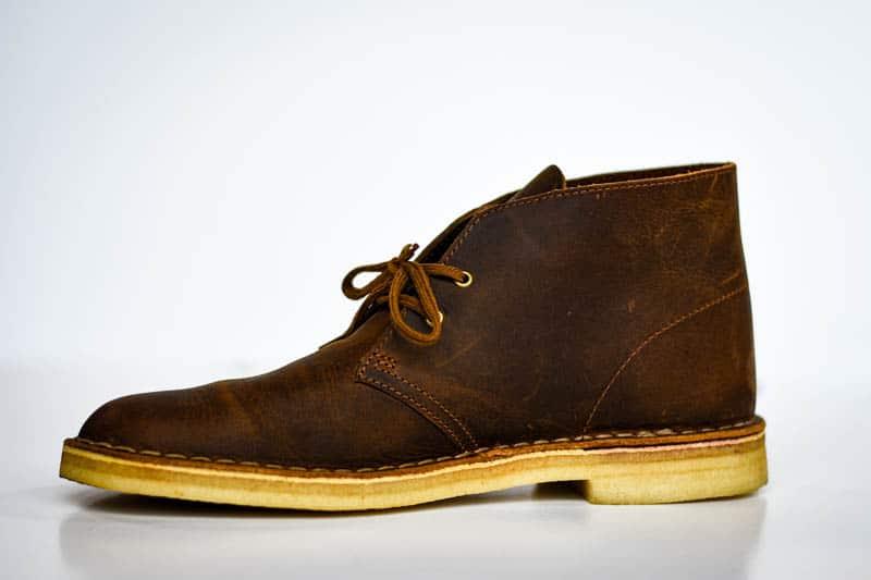 Single clarks desert boot profile product shot on white background