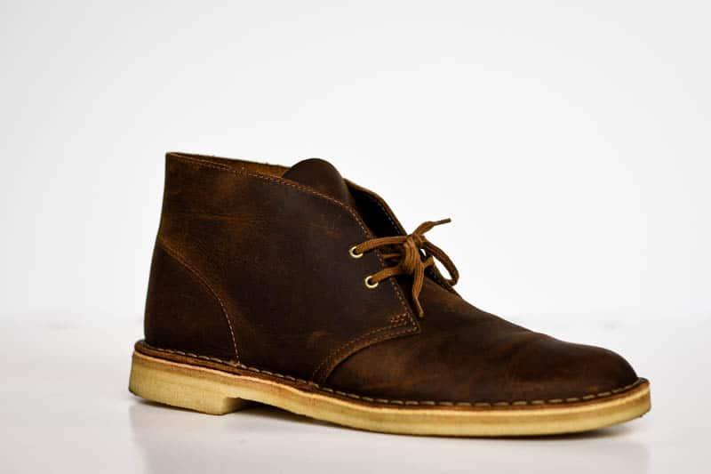clarks desert boot product shot on white background