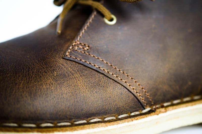 clarks desert boot stitching detail