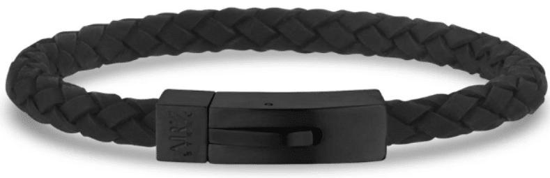 The Steel Shop 6mm Black on Black Steel Italian Leather Bracelet