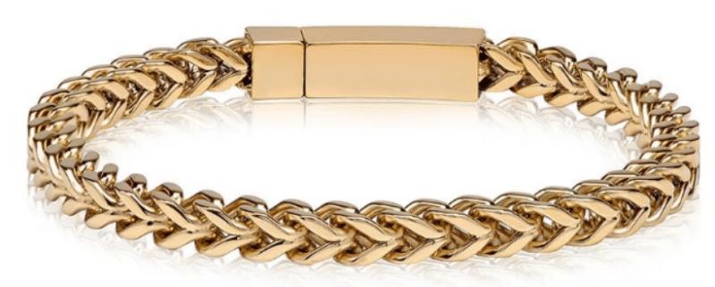 The Steel Shop 6mm Gold Steel Franco Link Bracelet