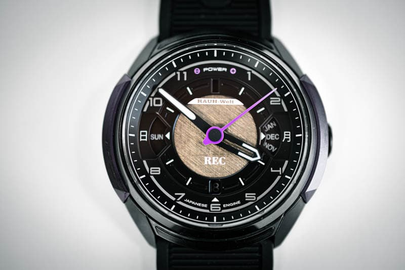 closeup on dial of 901 RWB Rotana automatic watch 1
