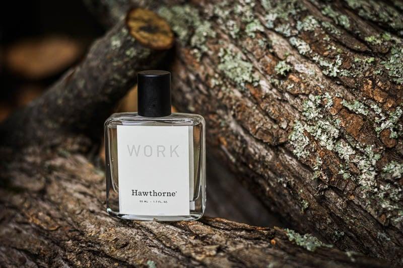 hawthorne cologne work fragrance on wooden background