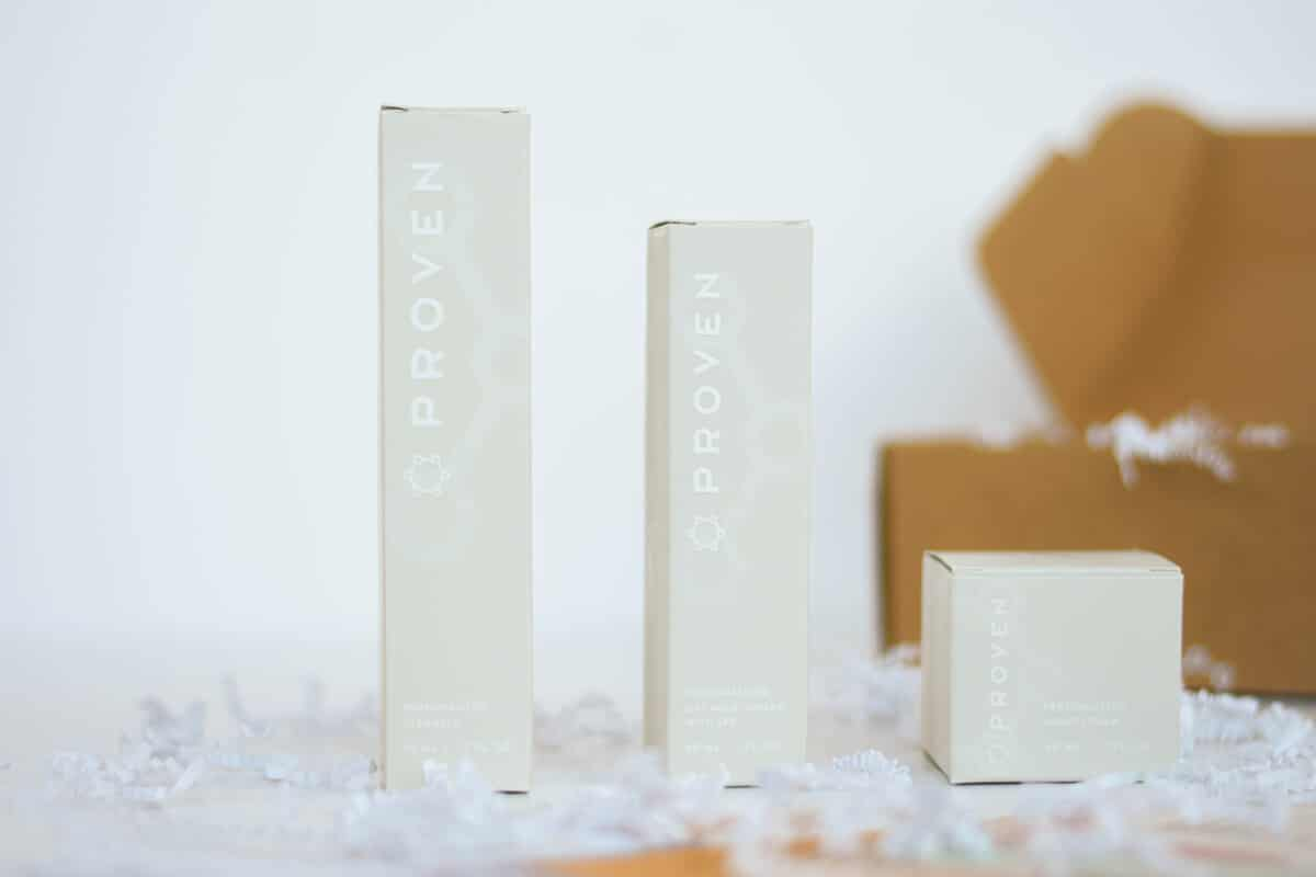 Proven Skincare review Chrome Bottles Lined up on white background