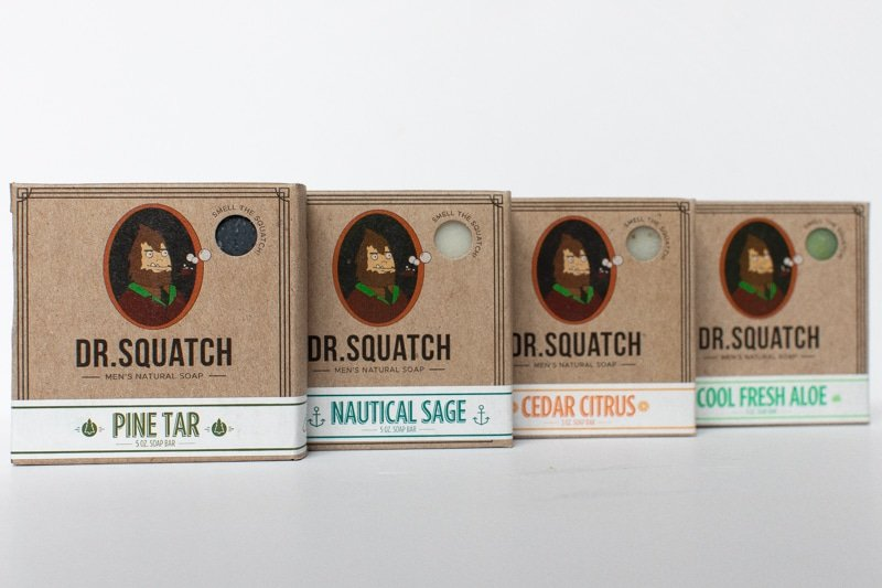Lineup of Dr. Squatch Soaps on White background