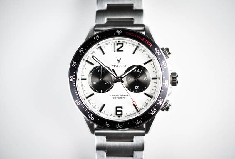 Vincero Apex dial closeup on white background