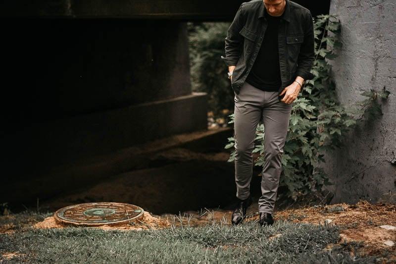 model wearing rhone commuter pants grey