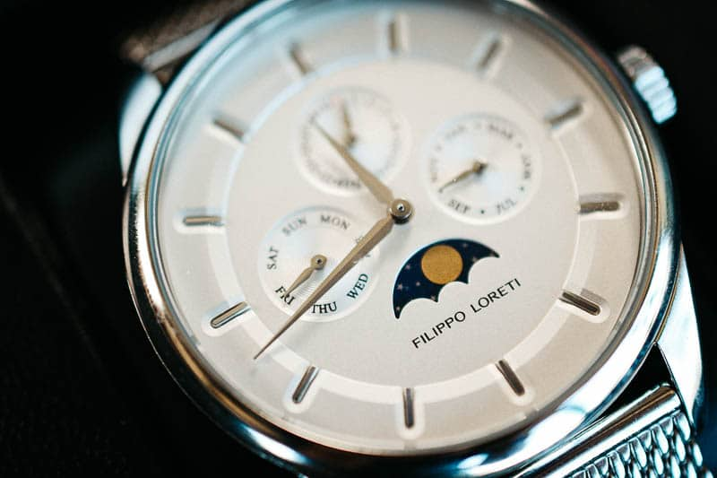 Filippo Loreti Venice closeup oblique dial moonphase detail