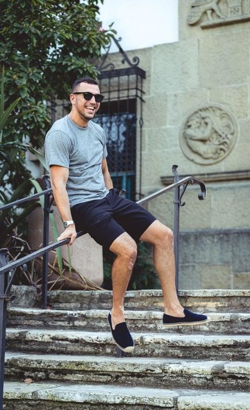 Man wearing Espadrille on stairs