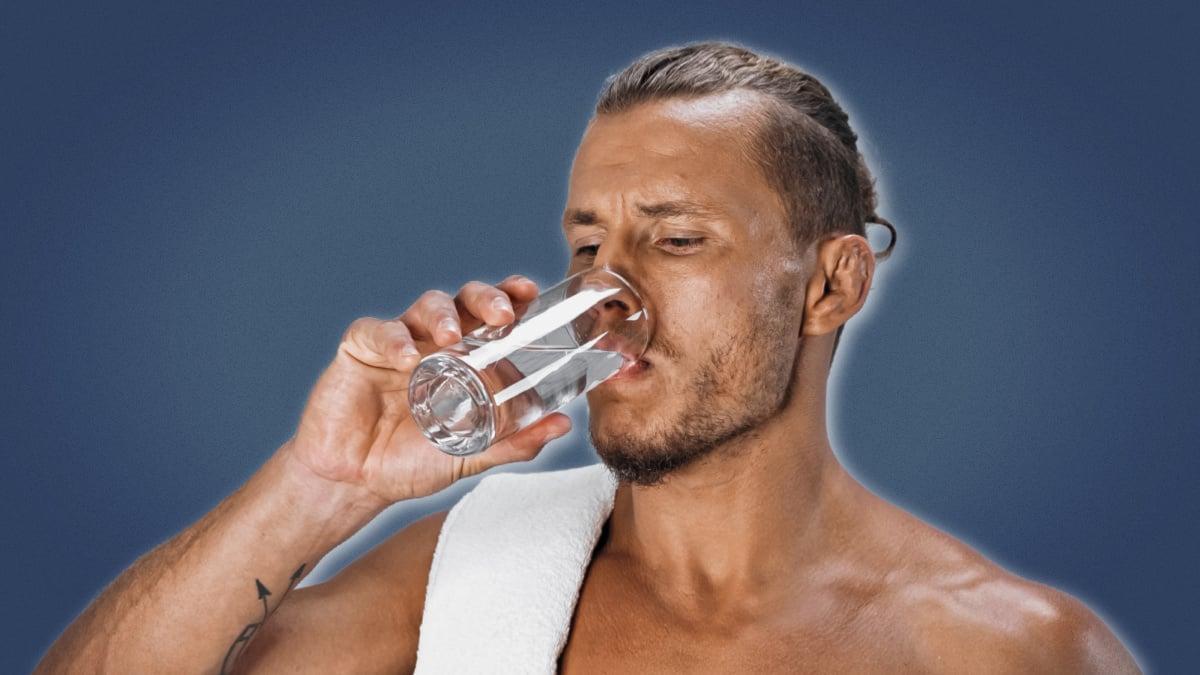 Morning Routine Men Shirtless Man Drinking Glass of Water