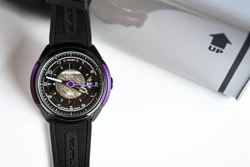 REC Watches 901 RWB Rotana watch next to packaging on white background
