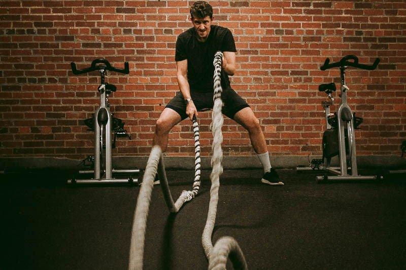 battle ropes with All Citizens compression shorts and endurance shorts