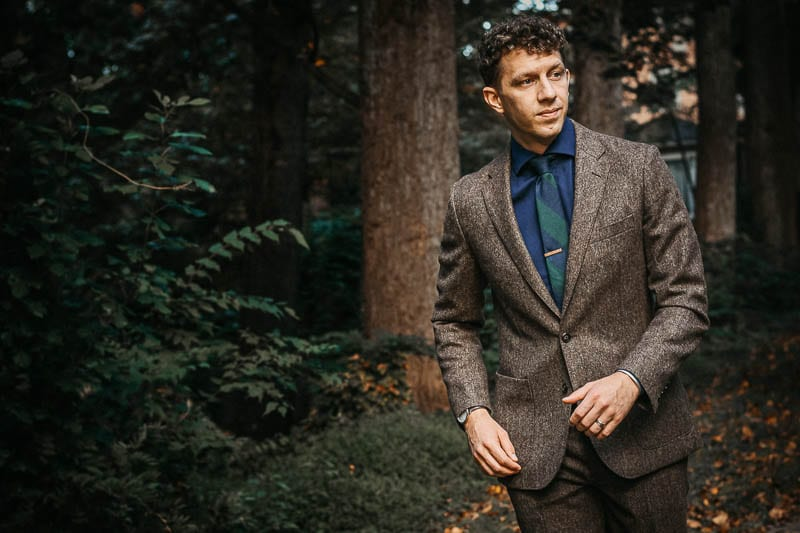 model in brown english wool JCrew Ludlow unstructured suit