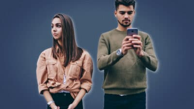 Bad Habits Every Man Should Stop  Guy Addicted to Phone While Girlfriend Upset and Looks Away