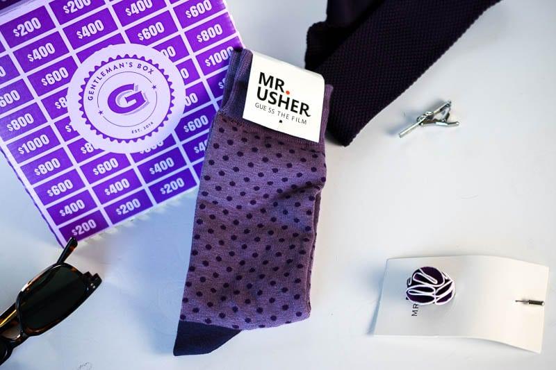 Gentlemans Box Classic purple socks