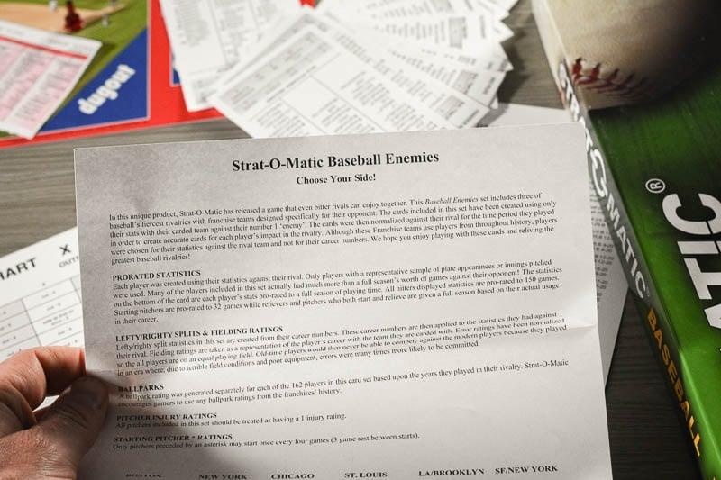 Strat O Matic rival enemies card
